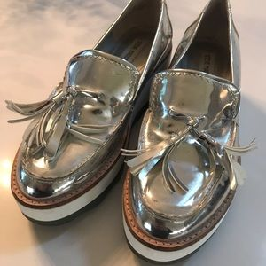 Steve Madden silver metallic loafers
